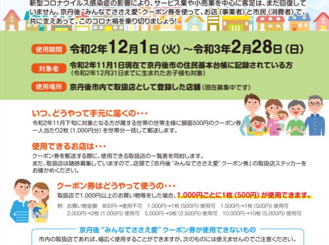 """京丹後""""みんなでささえ愛""""クーポン券取扱店"""